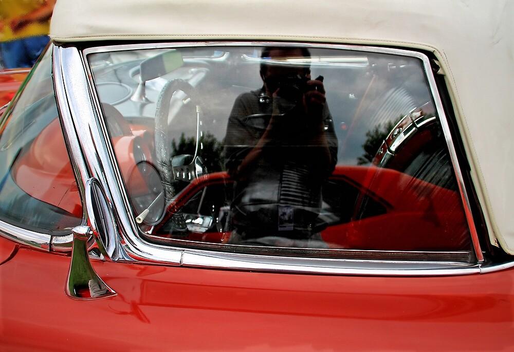 Car window reflection selfie by Karl Rose