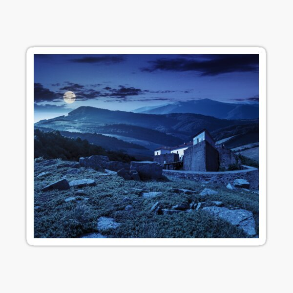 composite landscape with fortress in woods on mountain hillside at night Sticker