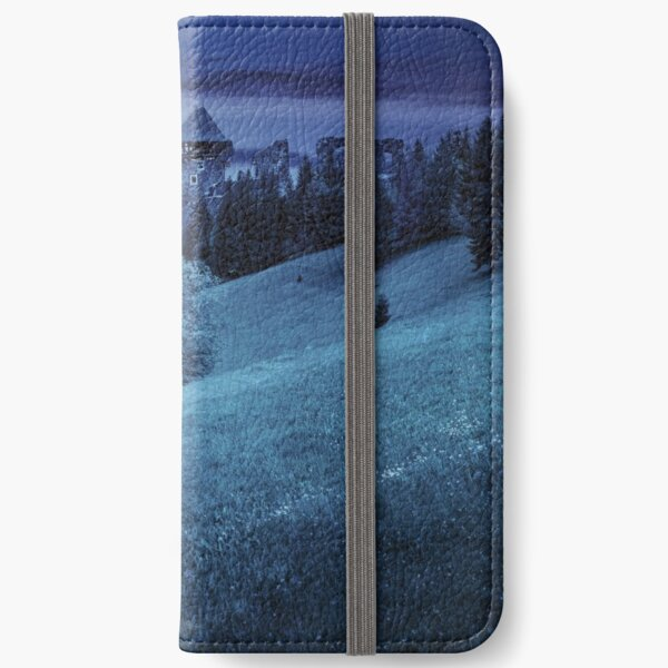 path to fortress ruins on hillside with forest at night iPhone Wallet