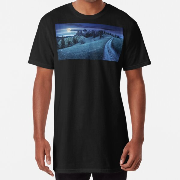 path to fortress ruins on hillside with forest at night Long T-Shirt