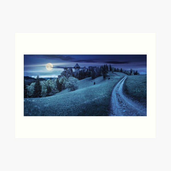 path to fortress ruins on hillside with forest at night Art Print