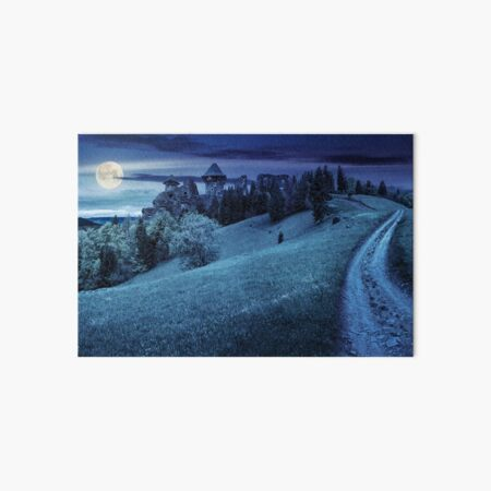 path to fortress ruins on hillside with forest at night Art Board Print
