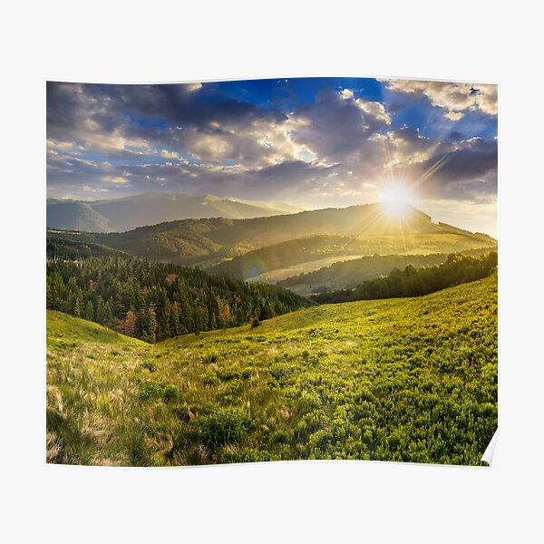 landscape with valley and forest in high mountains at sunset Poster