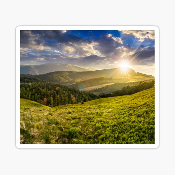 landscape with valley and forest in high mountains at sunset Sticker