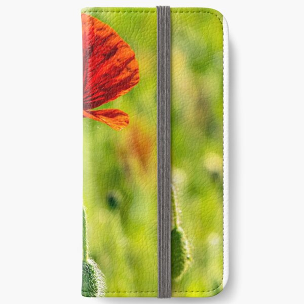 red poppy in the wheat field iPhone Wallet