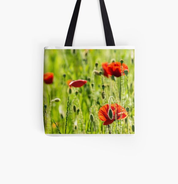 red poppy in the wheat field All Over Print Tote Bag
