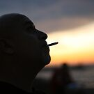 fisherman at dusk in Jaffa by Bernard Raskin