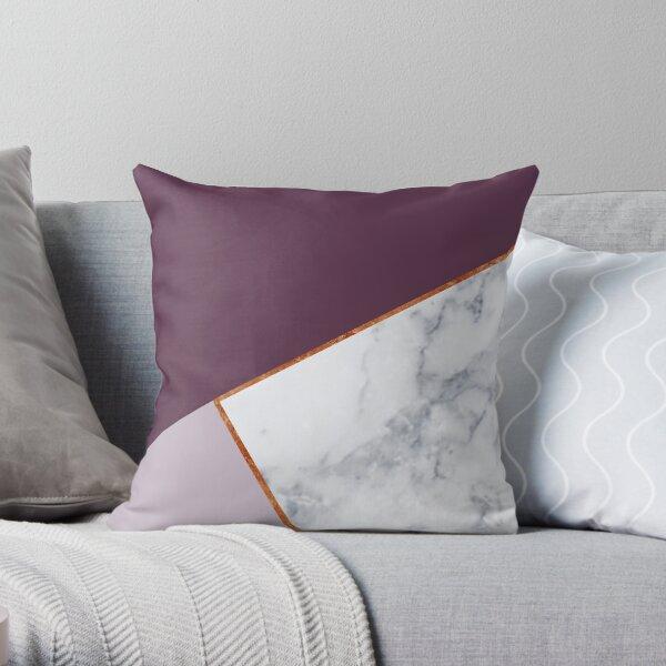 MARBLE PLUM PURPLE LAVENDER COPPER GEOMETRIC Throw Pillow