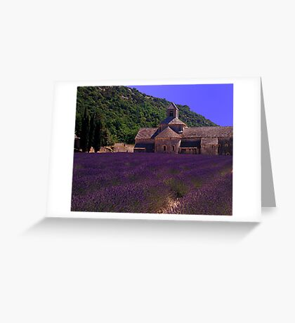 Lavender and Abbey, Provence, France Greeting Card