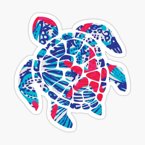 Turtle Blue and Pink Starfish Sticker