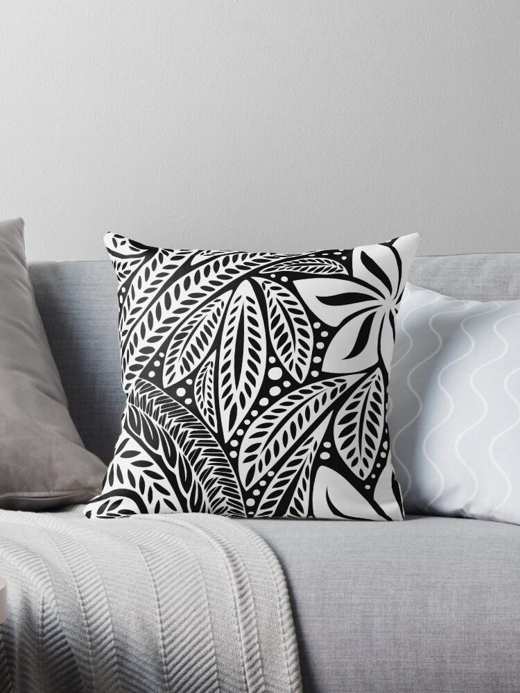 162b8b0215703 White Polynesian flower floral tattoo design over black background ...