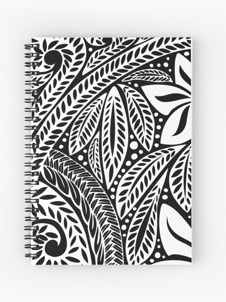 859c82c48 White Polynesian flower floral tattoo design over black background Spiral  Notebook