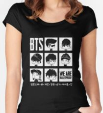 BTS WE ARE BULLETPROOF Chibi Women's Fitted Scoop T-Shirt