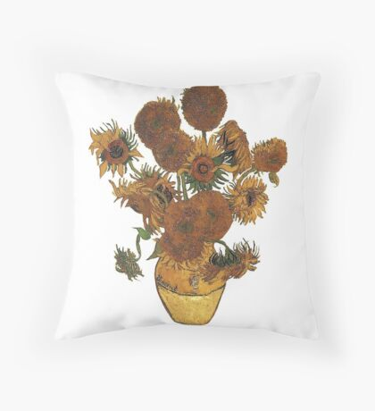 Van Gogh Sun Flowers Grunge Throw Pillow