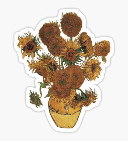 Van Gogh Sun Flowers Grunge Sticker