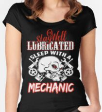 Mechanic - Stay well lubricated sleep with him Women's Fitted Scoop T-Shirt