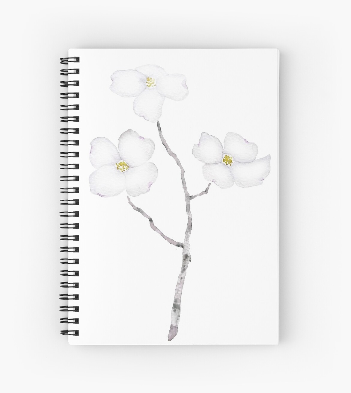 White Dogwood Flower Watercolor Spiral Notebooks By Colorandcolor