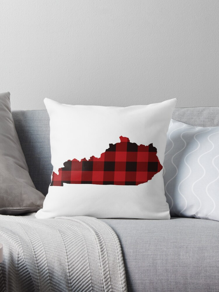 Red Plaid Kentucky Throw Pillow By Kevgib Redbubble