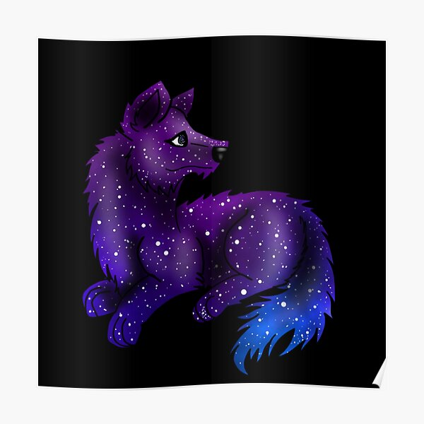 Galaxy Wolf Poster By Inkcoveredragon Redbubble