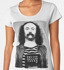 David Crosby Mug Shot Vertical Painting Black And White Women's Premium T-Shirt