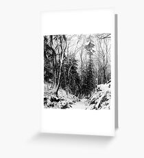 winter landscape in black and white Greeting Card