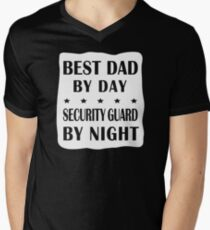 Security Guard Father - Best Dad, Night Shift Work  Men's V-Neck T-Shirt