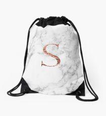 Monogram rose marble S Drawstring Bag