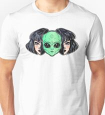 Colorful vibrant portrait of an alien from outer space face in disguise as human girl. Slim Fit T-Shirt