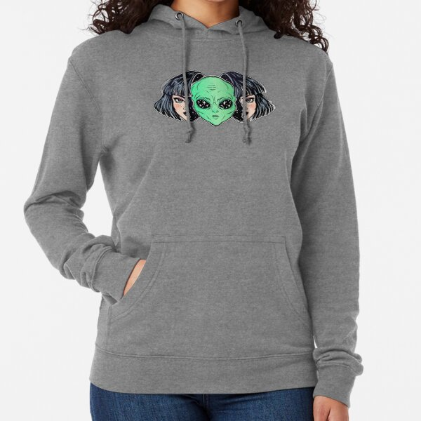Colorful vibrant portrait of an alien from outer space face in disguise as human girl. Lightweight Hoodie