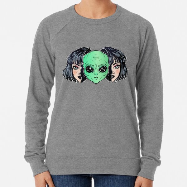 Colorful vibrant portrait of an alien from outer space face in disguise as human girl. Lightweight Sweatshirt