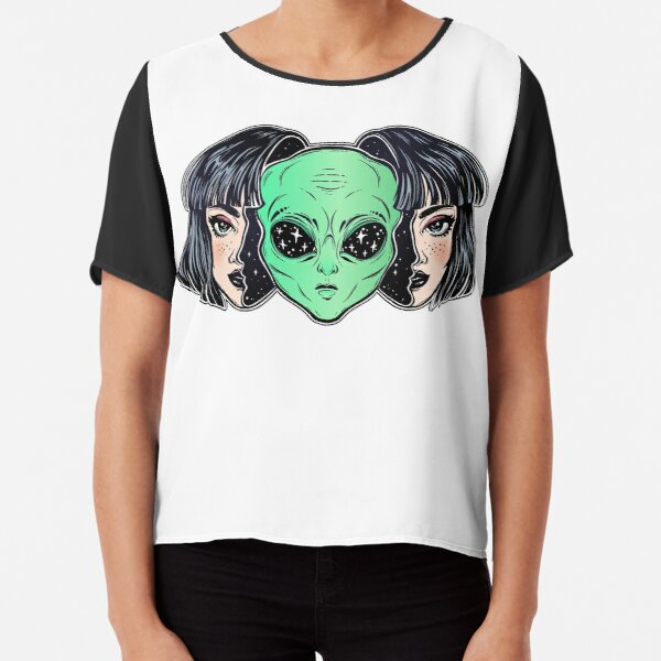 Colorful vibrant portrait of an alien from outer space face in disguise as human girl. Chiffon Top