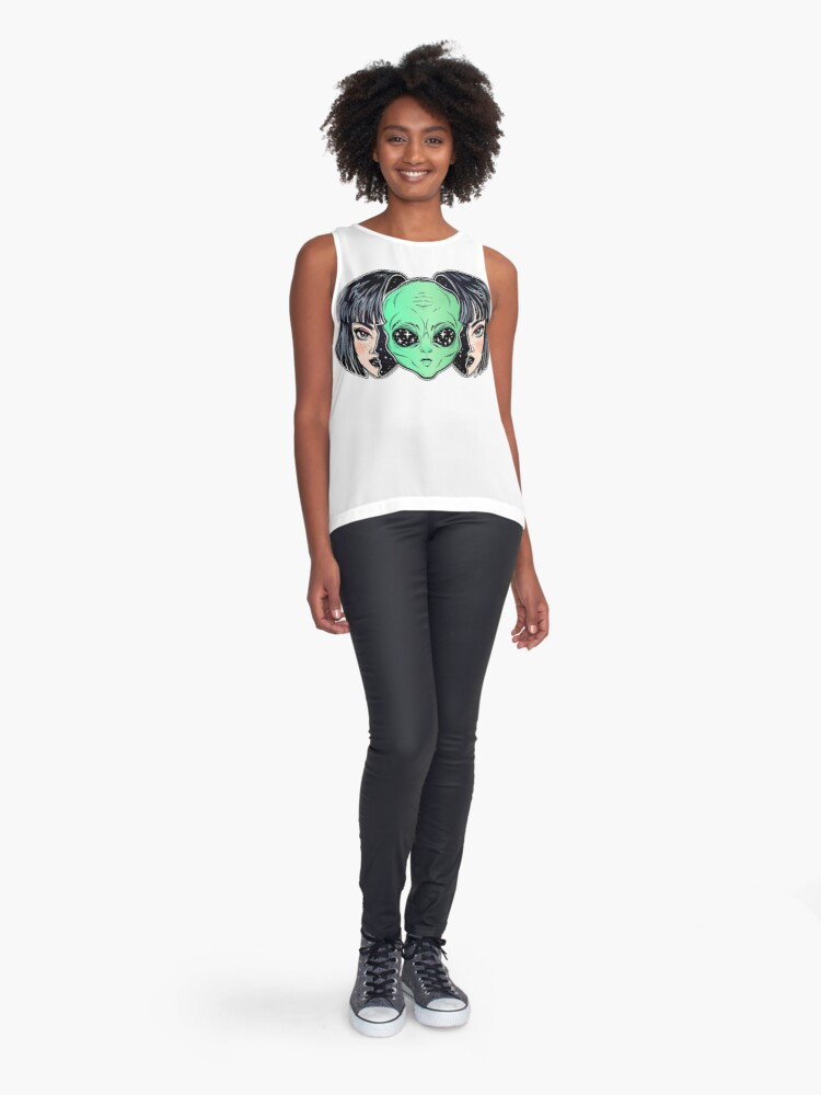 Alternate view of Colorful vibrant portrait of an alien from outer space face in disguise as human girl. Sleeveless Top