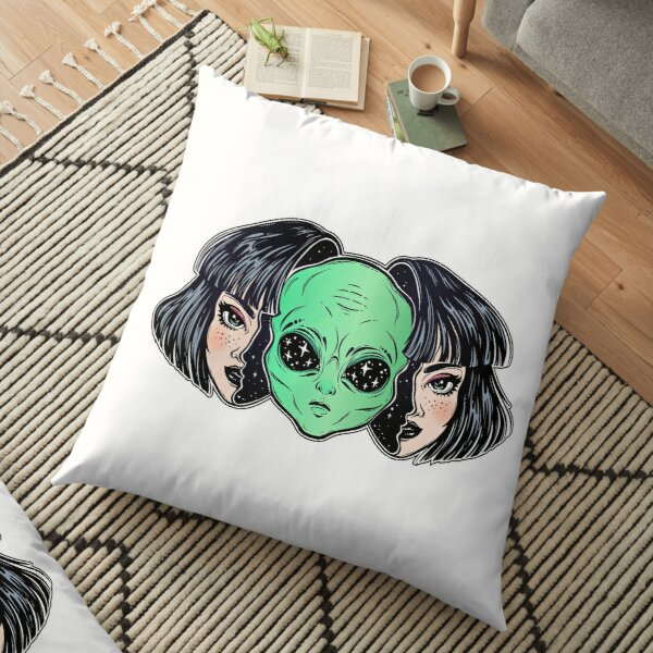 Colorful vibrant portrait of an alien from outer space face in disguise as human girl. Floor Pillow