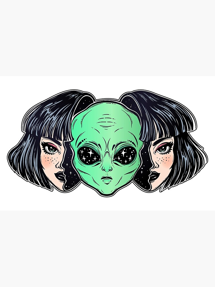 Colorful vibrant portrait of an alien from outer space face in disguise as human girl. by KatjaGerasimova