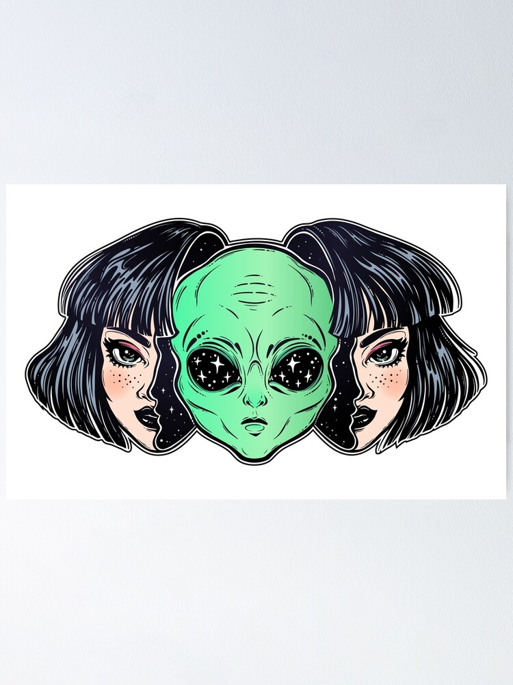 Alternate view of Colorful vibrant portrait of an alien from outer space face in disguise as human girl. Poster