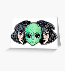 Colorful vibrant portrait of an alien from outer space face in disguise as human girl. Greeting Card