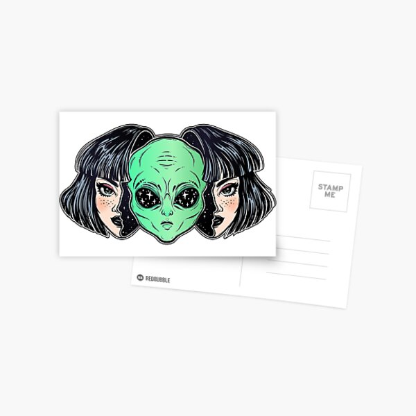Colorful vibrant portrait of an alien from outer space face in disguise as human girl. Postcard