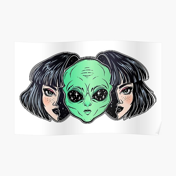 Colorful vibrant portrait of an alien from outer space face in disguise as human girl. Poster