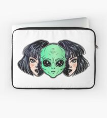 Colorful vibrant portrait of an alien from outer space face in disguise as human girl. Laptop Sleeve