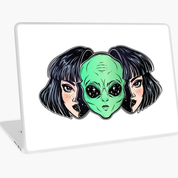 Colorful vibrant portrait of an alien from outer space face in disguise as human girl. Laptop Skin