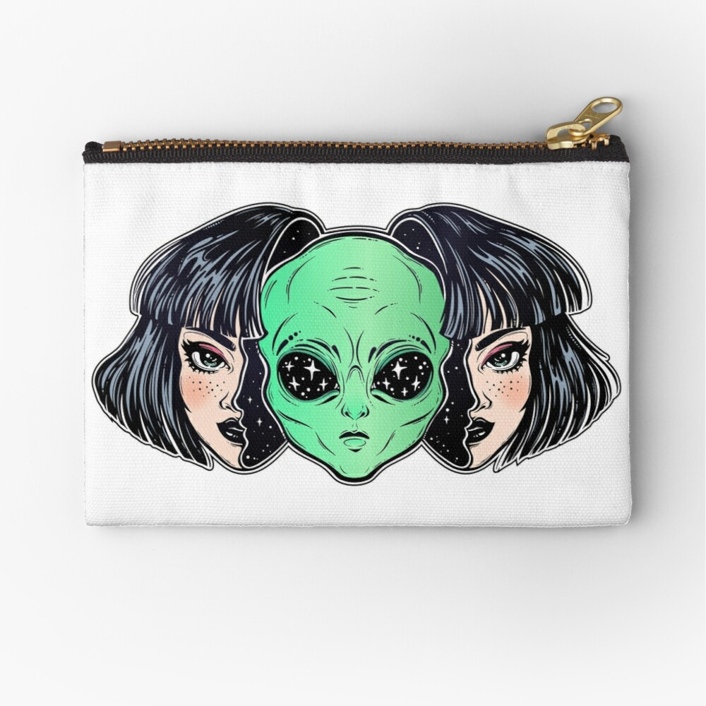 Colorful vibrant portrait of an alien from outer space face in disguise as human girl. Zipper Pouch