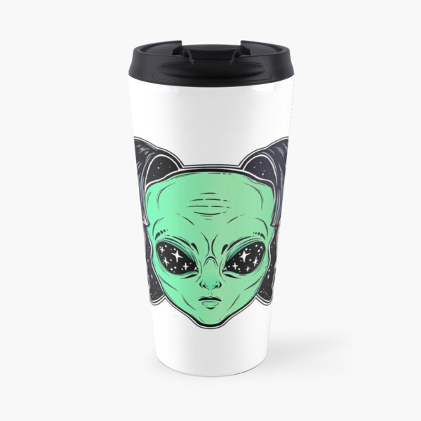Colorful vibrant portrait of an alien from outer space face in disguise as human girl. Travel Mug