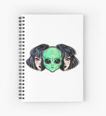 Colorful vibrant portrait of an alien from outer space face in disguise as human girl. Spiral Notebook