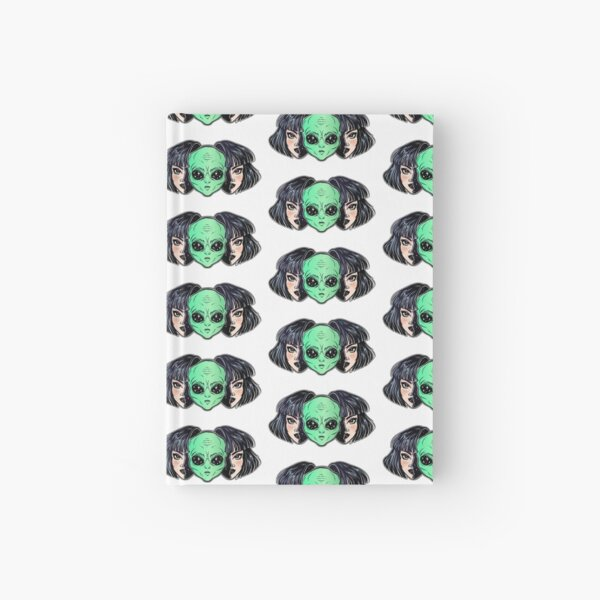 Colorful vibrant portrait of an alien from outer space face in disguise as human girl. Hardcover Journal