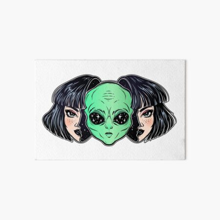 Colorful vibrant portrait of an alien from outer space face in disguise as human girl. Art Board Print