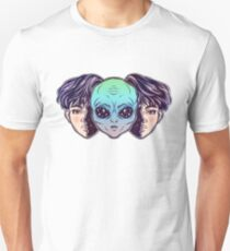Portriat of the extraordinary alien from outer space face in disguise as a human boy. Unisex T-Shirt