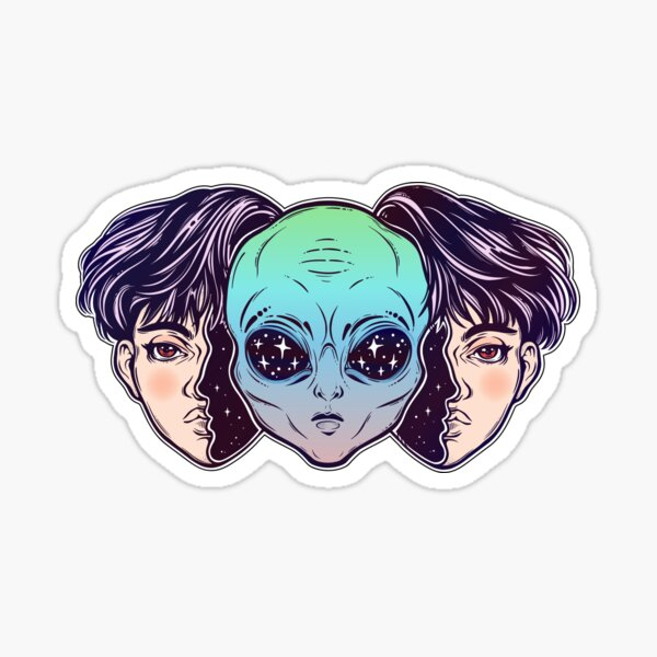 Portriat of the extraordinary alien from outer space face in disguise as a human boy. Sticker