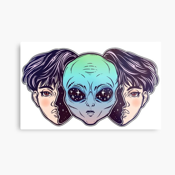 Portriat of the extraordinary alien from outer space face in disguise as a human boy. Metal Print