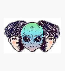 Portriat of the extraordinary alien from outer space face in disguise as a human boy. Photographic Print