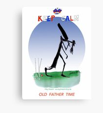 English Cricket Keep Calm Old Father Time Canvas Print